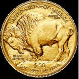 Золотая инвестиционная монета США - Бизон (Буффало), 31,1 г чистого золота (проба 0,9999)2011-2019